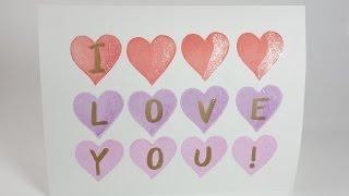 情人節卡片#3, 蓋上愛情符號/ Stamp a Valentine's day Card   安妮,手作吧!