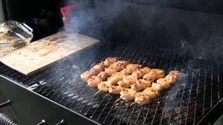 Smokingpit.com - Mangothai Chili Glazed Shrimp & Lobster Tail Kabobs Grilled On The Scottsdale
