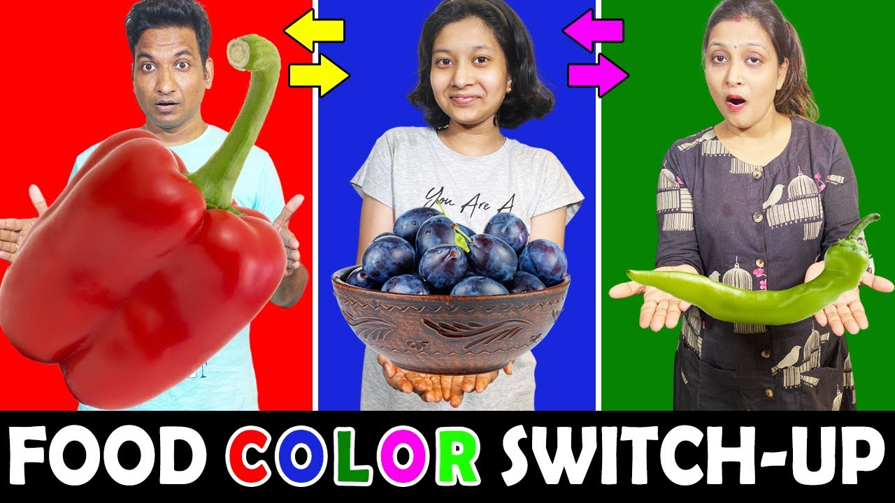 EATING One COLOR Food SWITCH UP Challenge | Cute Sisters