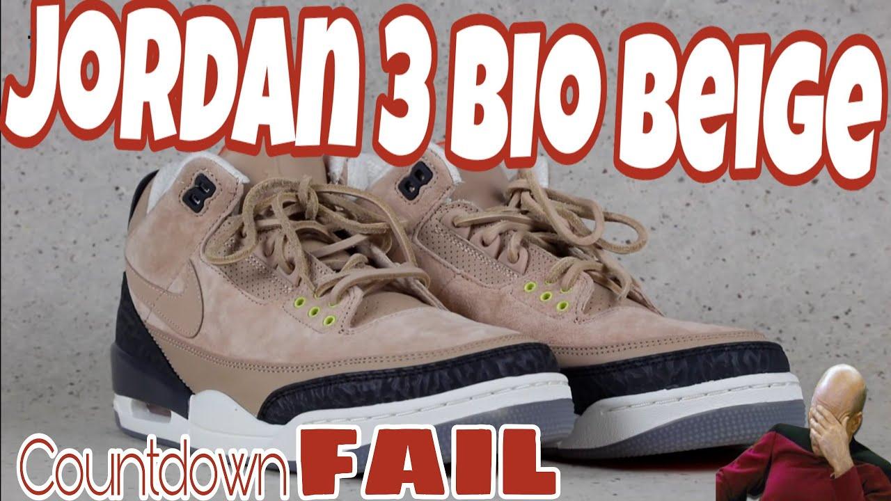13c412a5673c22 Dramatic Air Jordan 3 JTH bio beige Footaction countdown FAIL ...