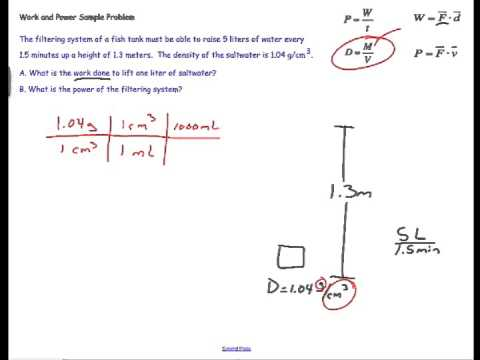 Work and Power Calculations for a Water Pump: physics problem