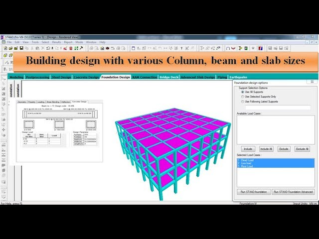 Building Design G 2 With Different Beam Column And Slab Sizes By Staad Pro Software Youtube
