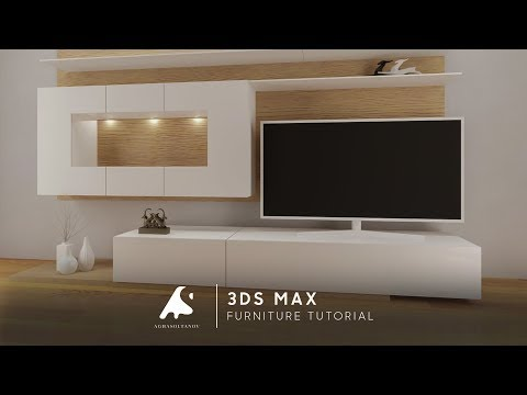 3D Max Modeling Tutorial Furniture TV Vray+Photoshop light 2016