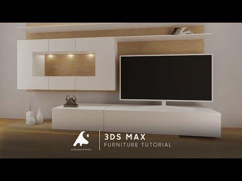 3D Max Modeling Tutorial Furniture TV Vray + Photoshop Light