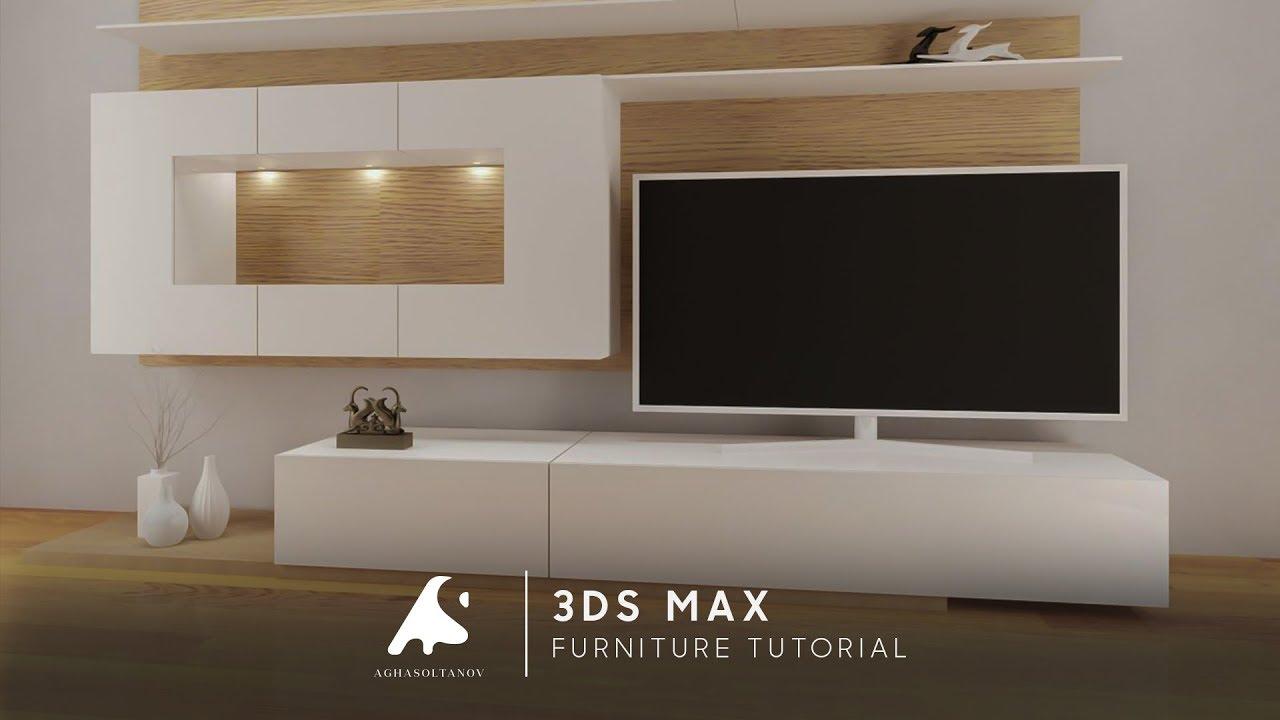 3D Max Modeling Tutorial Furniture TV Vray+Photoshop Light 2016