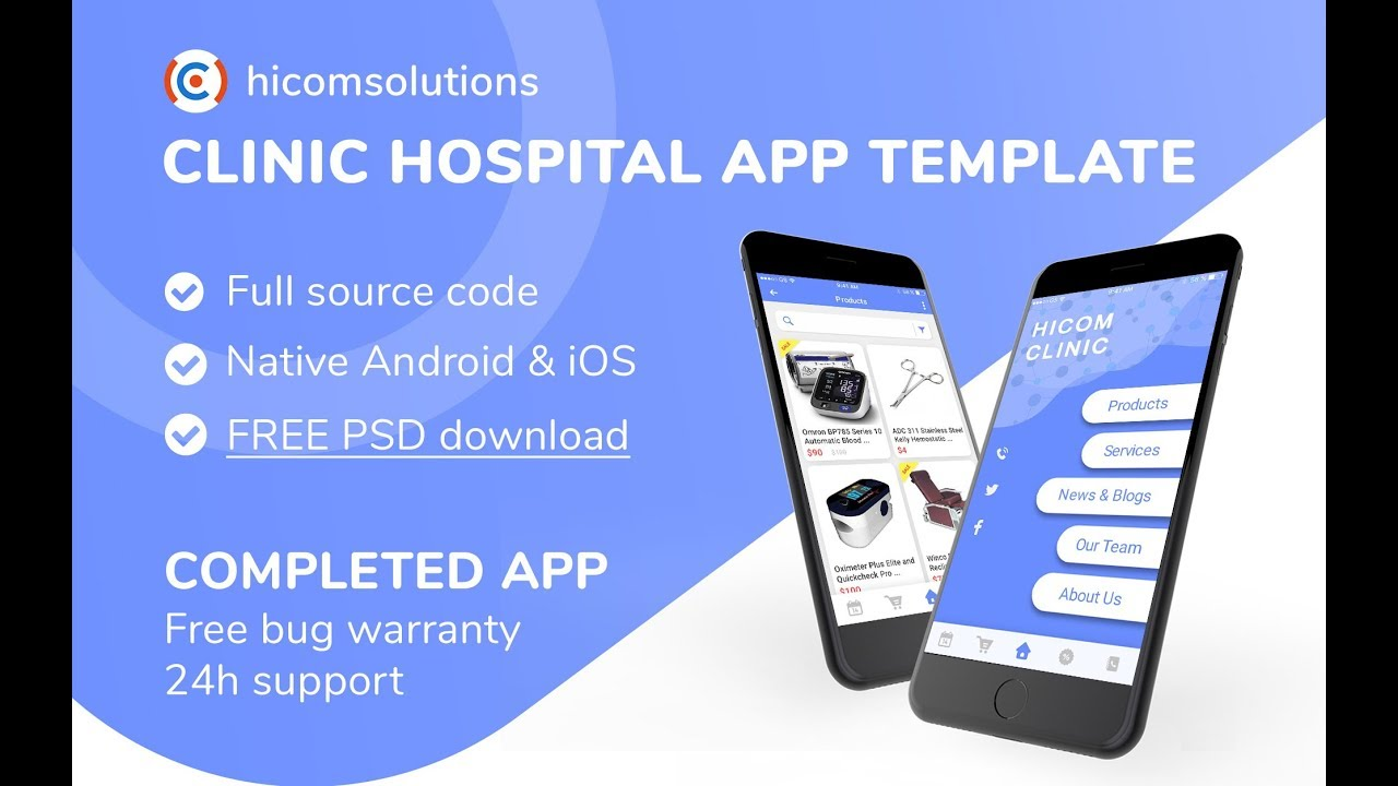 App template for clinic, hospital agency  Android, iOS available