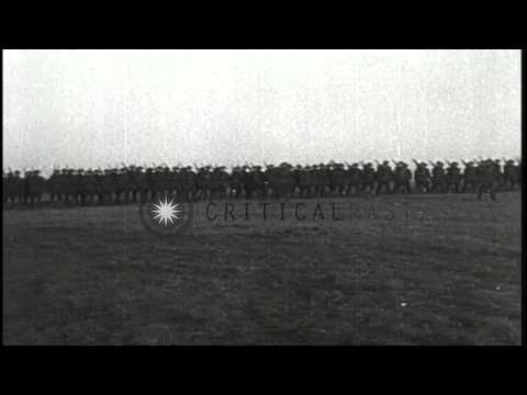 US Army Major General Clarence Edwards reviews the 26th Infantry Division in Fran...HD Stock Footage