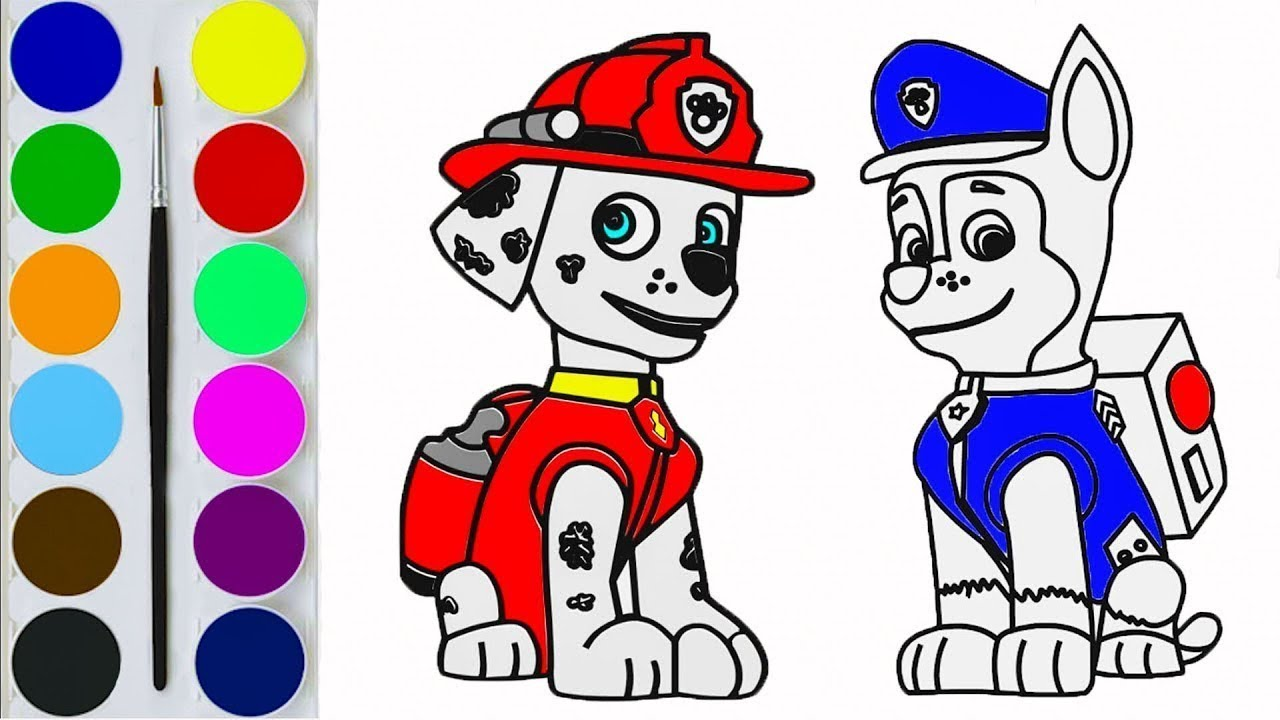How to Draw Paw Patrol Characters / Art for Kids / Coloring Pages ...