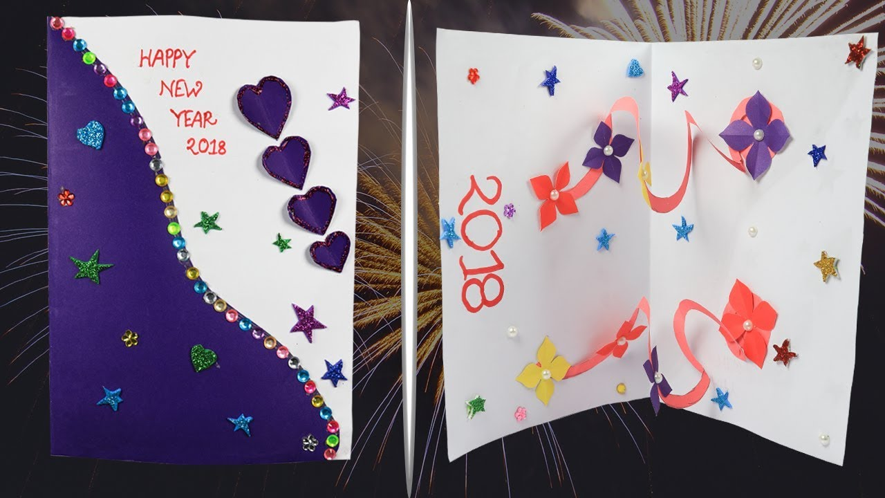 new year card 2018 how to make new year card easily new year pop up card handmade