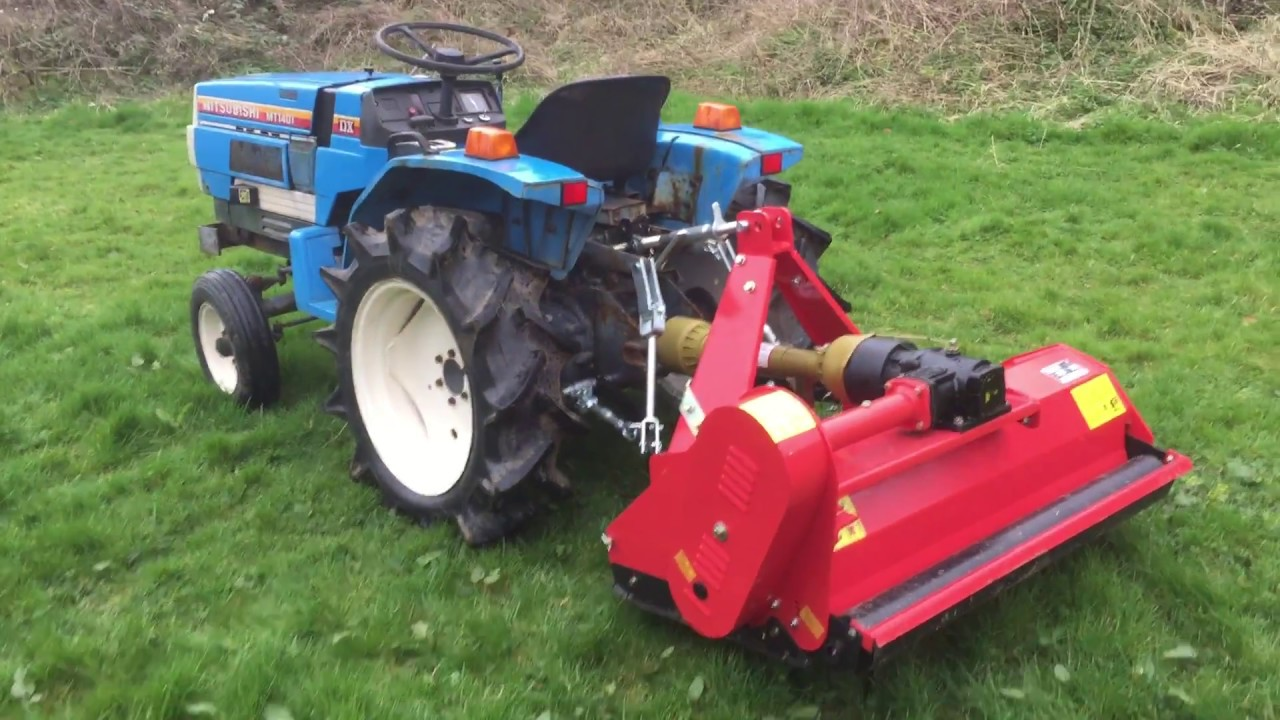 Mitsubishi MT1401 2WD Compact tractor with New Flail Mower