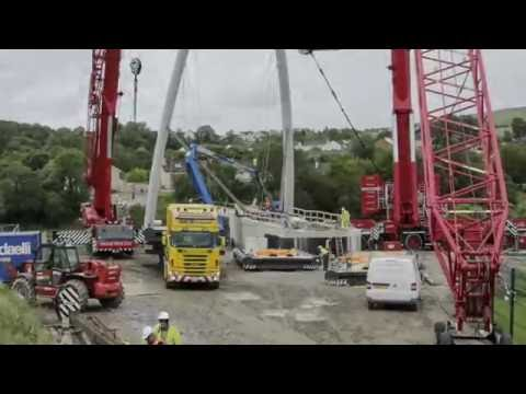 Our 750 Ton, 500 Ton & 350 Ton Cranes Lifting Strabane Foot & Cycle Bridge