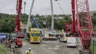 Our 750 Ton, 500 Ton & 350 Ton Cranes Lifting Strabane Foot & Cycle Bridge
