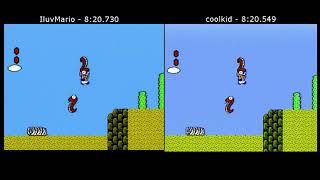 Super Mario Bros. 2 Top 2 Speedruns Comparison (coolkid 8:20.549 WR vs. IluvMario 8:20.730)