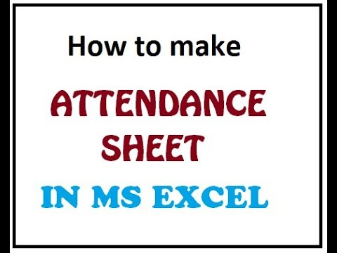 how to make simple attendance sheet in microsoft exel siit skardu