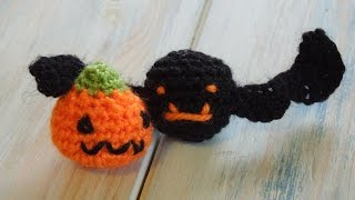 Mini Crochet Bat and Pumpkin