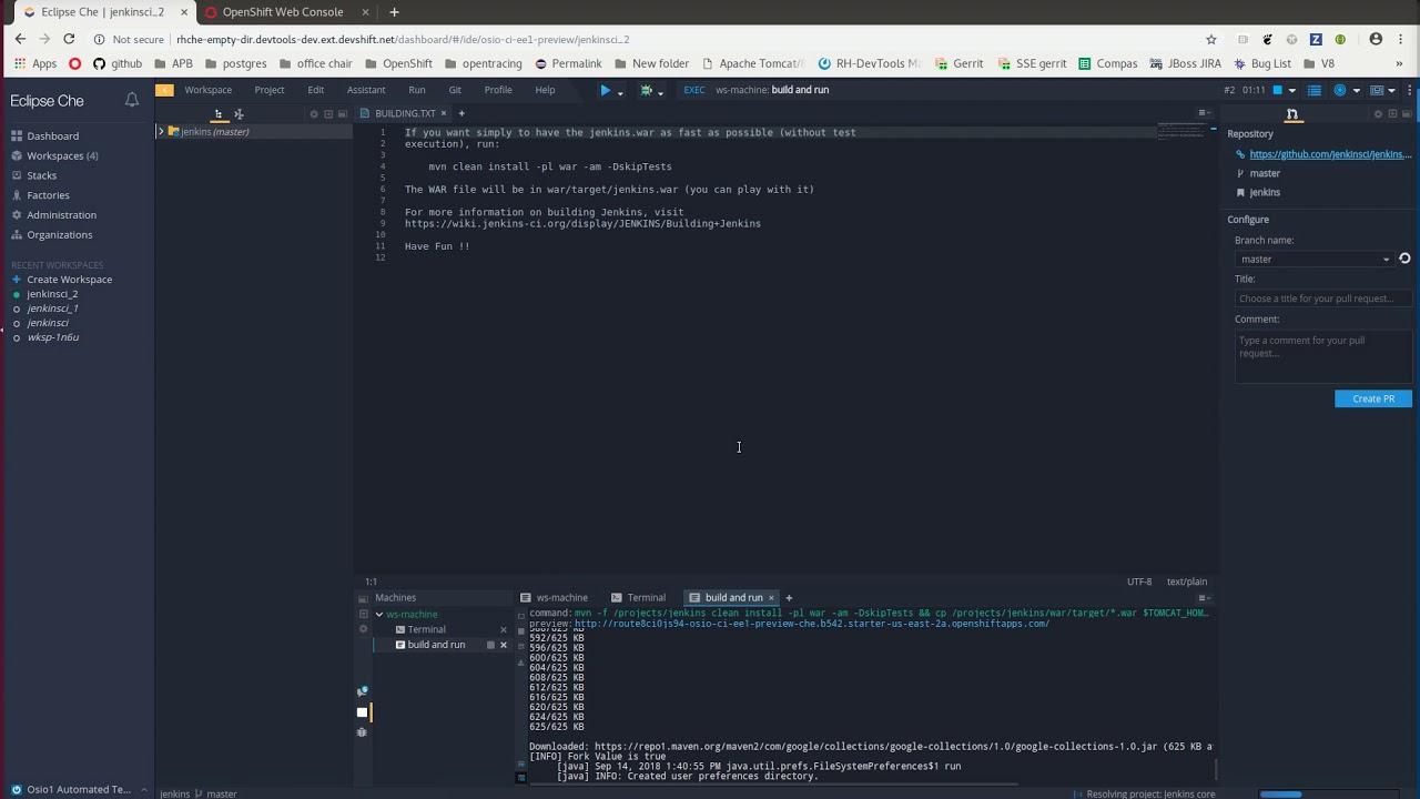 Developing Jenkins Inside Eclipse Che Ephemeral Workspace Youtube