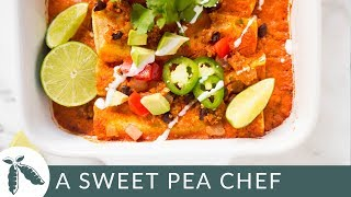 Spicy Quinoa & Black Bean Vegan Enchiladas | Easy Enchilada Recipe | A Sweet Pea Chef