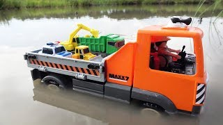 Truck crossing on Deep Water with Tayo The Little Bus Toys