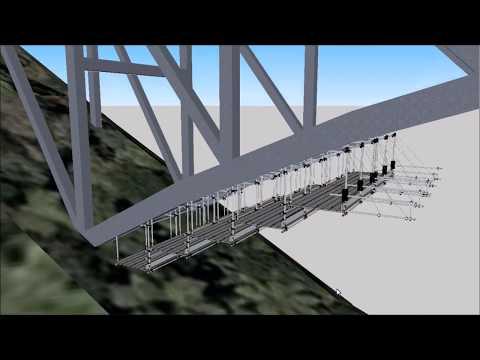 逆ランガー橋吊り足場設置スライド工法バズーカユニット使用