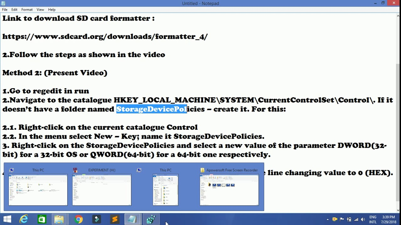 remove write protection from micro sd card method 2  youtube