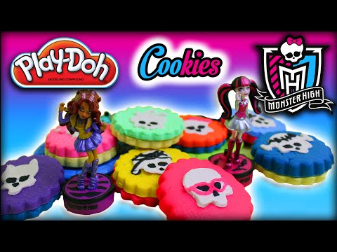 ♥ Play-Doh Monster High Ghouls Cookies 3D + Monster High Dolls (Draculaura, Clawdeen...)