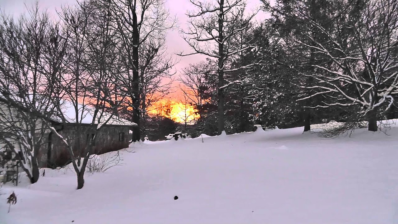 snow winter storm clouds sunset under