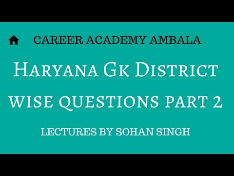 Haryana Gk District wise questions part 2(continued)