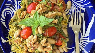 Real Food Fast - Summer Squash Pesto Pasta with Sun-Dried Tomatoes and Cannelini Beans