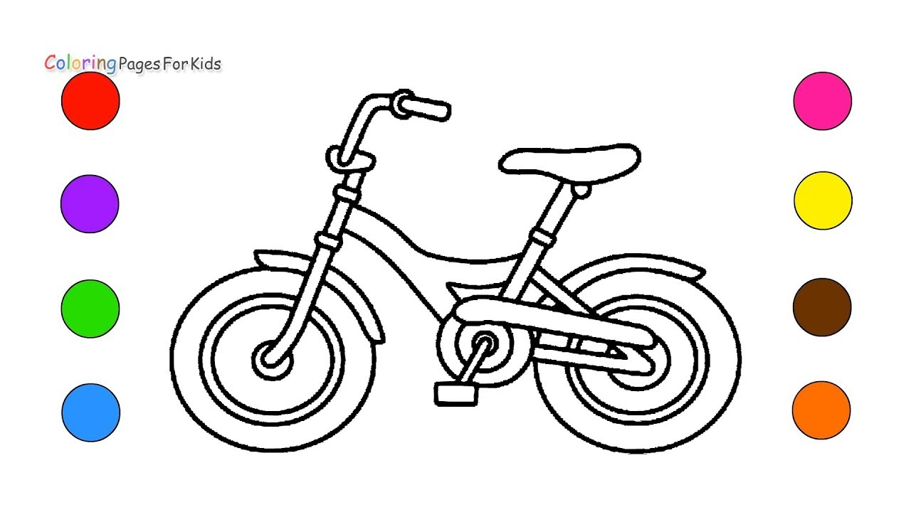 Bicycle Coloring Pages For Kids Children Toddler Learn Colors