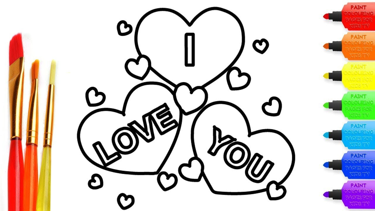 Draw I Love U Coloring Page For Kids