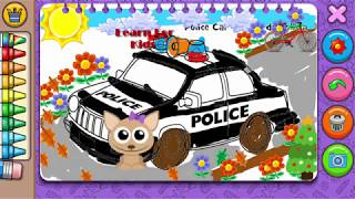 How to learn coloring for kids | Coloring police car for Kids | Teaching Colors to Kids