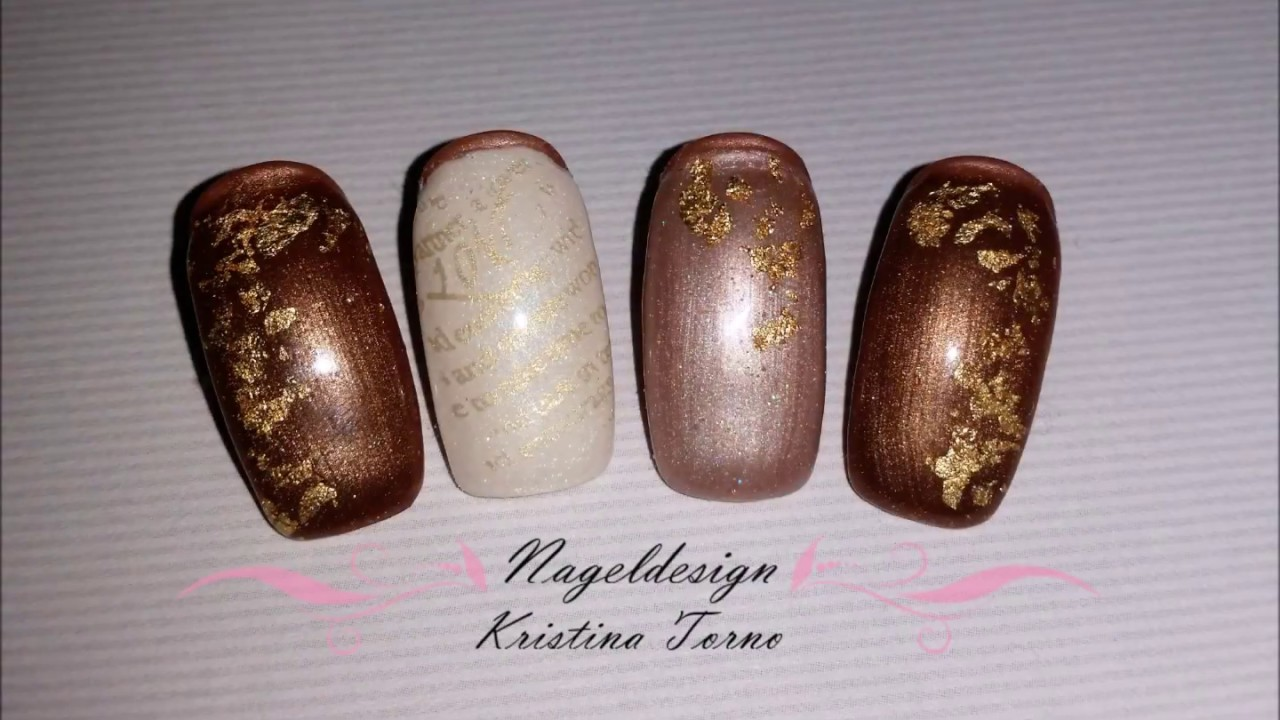 Nageldesign Fur Den Herbst Mit Goldfolie Nail Art Tutorial Youtube
