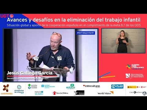 Jesús Gallego en la jornada sobre avances y desafíos en la eliminación del trabajo infantil