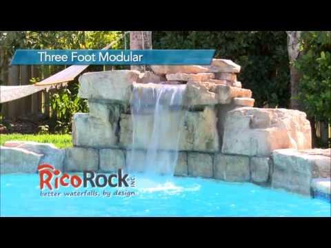 Rico rock three foot modular swimming pool waterfall kit for Prefab swimming pool