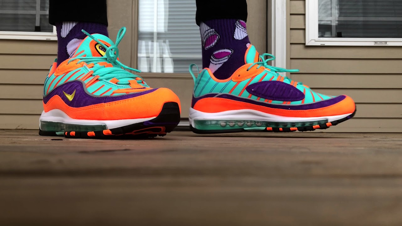 new concept a01f9 3eefb NIKE AIR MAX 98 CONE NICKELODEON ON FOOT LOOK!!!!!!