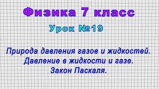 Физика 7 класс (Урок№19 - Природа давления газов и жидкостей. Закон Паскаля.)