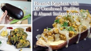 Roasted Eggplant With Cornbread Stuffing | Christmas Dinner, Gluten-free With Oil-free Option