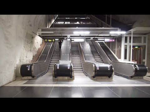 Sweden, Stockholm, Husby subway station, 5X escalator, 2X inclined elevator