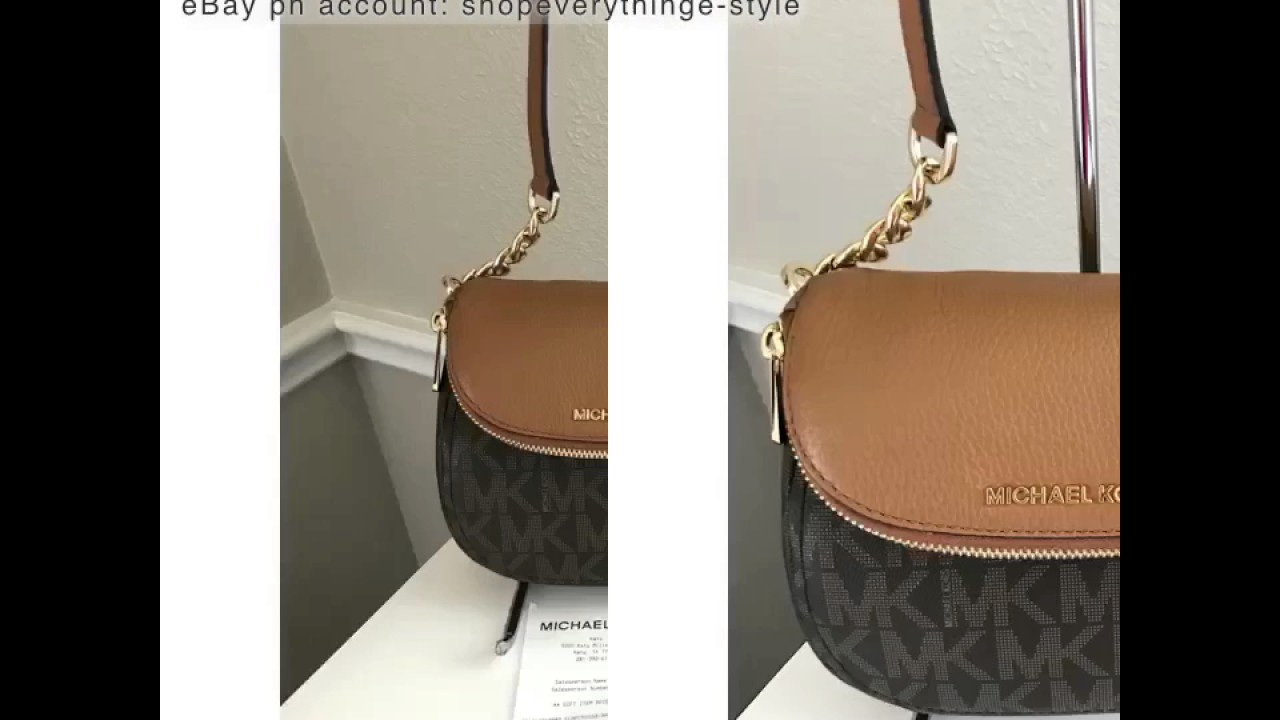 4878a5ff8cb3 MICHAEL KORS BEDFORD FLAP CROSSBODY IN PVC COATED CANVASS AND LEATHER-  SIGNATURE BROWN