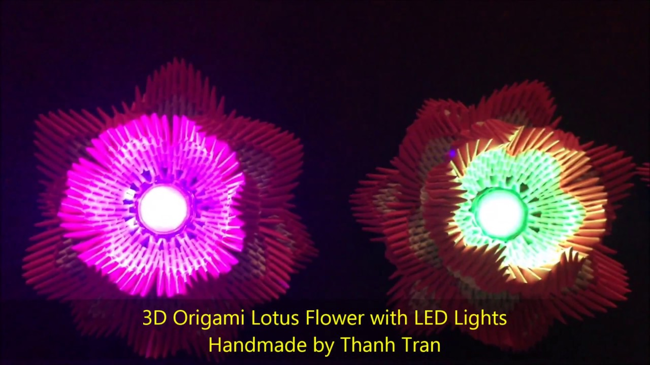 3d origami lotus flower with led lights youtube 3d origami lotus flower with led lights izmirmasajfo