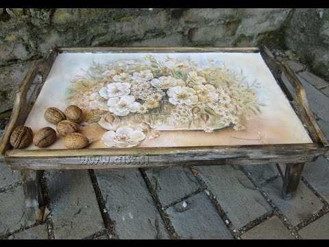 Decoupage tutorial - DIY. How to make old wood texture. How to decorate breakfast bed table.