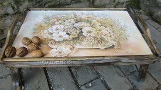 Decoupage Tutorial - Diy. How To Make Old Wood Texture. How To Decorate Wooden Tray.