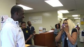 Mom reacts after football coach surprises her with son's scholarship news