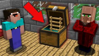 Minecraft NOOB vs PRO : NOOB FOUND SECRET PASSAGE IN THE CHEST VILLAGER! Challenge 100% trolling