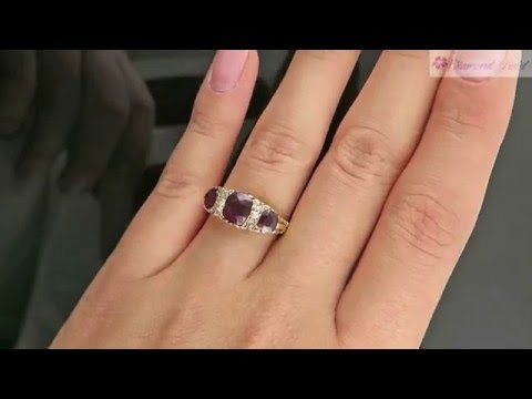 1 93CT ANTIQUE VINTAGE VICTORIAN GARNET DIAMOND ENGAGEMENT WEDDING RING 18K YG