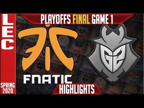 FNC vs G2 Highlights Game 1 | LEC Spring 2020 Playoffs Grand final | Fnatic vs G2 Esports G1