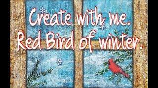 Roter Vogel im winter | mit mir| Im studio mit H | Mixed Media