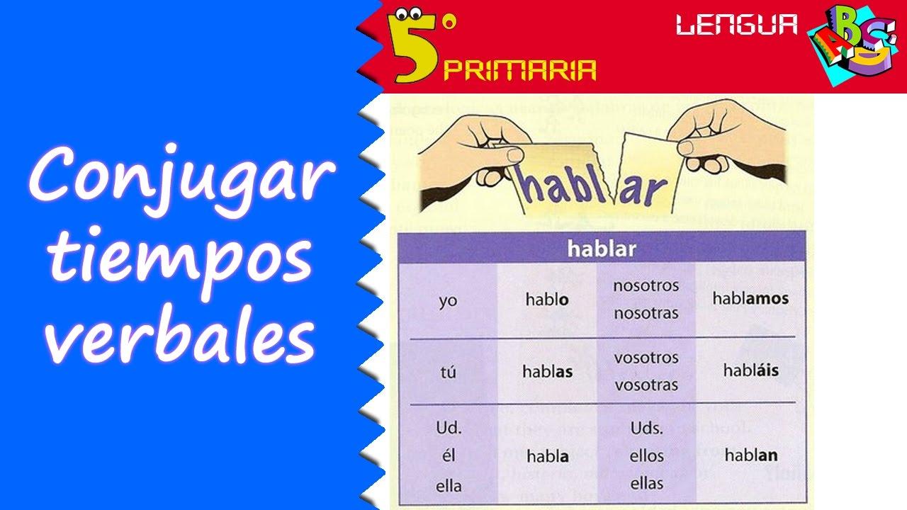 Conjugar tiempos verbales lengua 5 primaria tema 9 for Tiempo aprender ingles