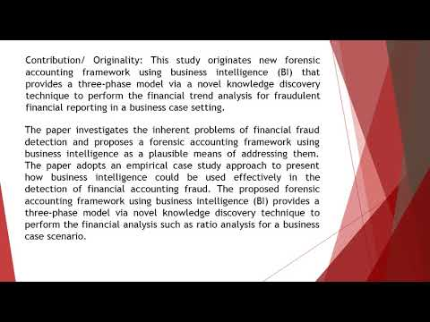 Financial Accounting Fraud Detection Using Business Intelligence  AEFR 511 1187 1207