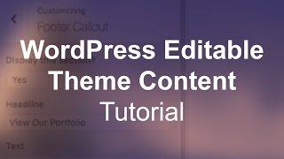 WordPress Custom Editable Theme Content (Image & Text) Tutorial Mp3